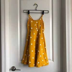 Girls old navy yellow dress with white polka dots
